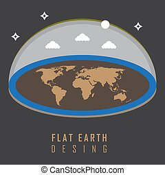 The flat earth model is a view that the earths shape is a flat mythology flat earth desing concept illustration vector graphic publicscrutiny Choice Image