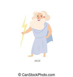 Mythology greek ancient god zeus, white beard