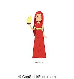 Mythology greek ancient woman god hestia in red dress