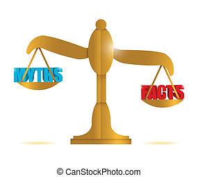 myths and facts balance illustration design