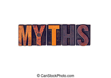 Myths Concept Isolated Letterpress Type