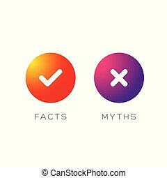 Myths Facts sign button vector set