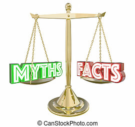 Myths Vs Facts Real Honest Information Scale Words 3d Illustration