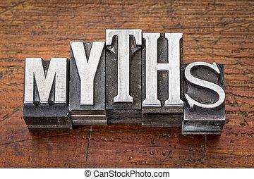 myths word in metal type