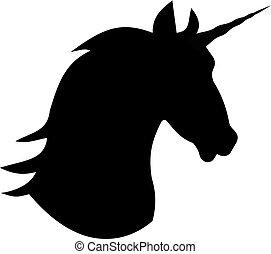 mytický, jednorožec, hlavička, kůň