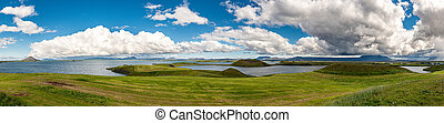 Myvatn pseudocraters in northern Iceland (panorama)