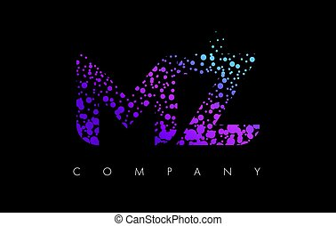 MZ M Z Letter Logo with Purple Particles and Bubble Dots -...