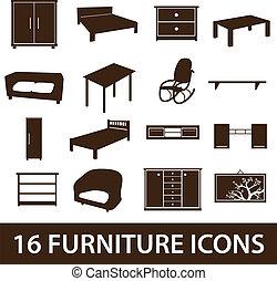 nábytek, ikona, eps10