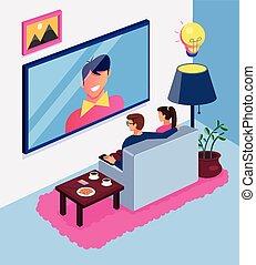 nádhera skladné, moderní obývací, televize, concept., sedění, charakter, osamocený, vnitřní, home., byt, manželka, dívaní, dvojice, ilustrace, novinka, karikatura, voják, místo, pohovka, vektor