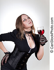 nádherný, manželka, s, červené šaty víno