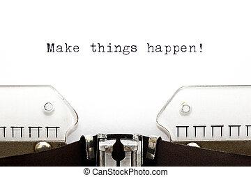 nádobí, činit, happen, psací stroj