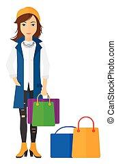nákupčí, s, nakupování, bags.