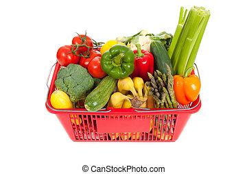 nákup koš, oveflowing, s, čerstvá zelenina
