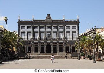 náměstí, babička, palmas, k, santa, ana, las, španělsko, canaria