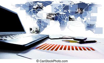 námořní mapa, poloit na stůl., graf, povolání