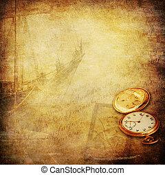 námořník, dávný, nostalgie, doba, podlaí, grafické pozadí
