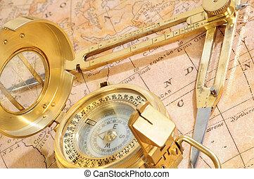 nápad, mapa, dávný, navigace, grafické pozadí