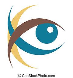 nápadný, oko, illustration.