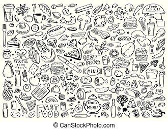 nápis, dát, zdravý, rukopis, strava, vektor, nahý, doodles, složka