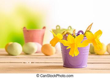 nárciszok, alatt, egy, bíbor, virágcserép