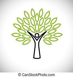 národ, kopyto nakreslit, ikona, s, mladický list, -, eco, pojem, vektor