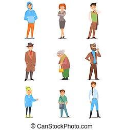 národ, o, neobvyklý, lifestyle, doba, a, profession., vektor, byt, ilustrace, dát