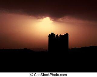 národ od a, věž, během, západ slunce