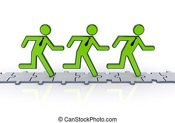 národ, puzzles., běh, 3, malý