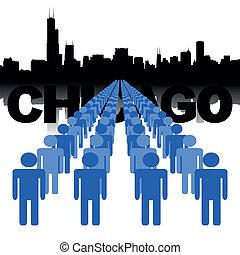 národ, s, chicago, městská silueta