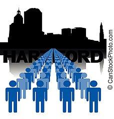 národ, s, hartford, městská silueta