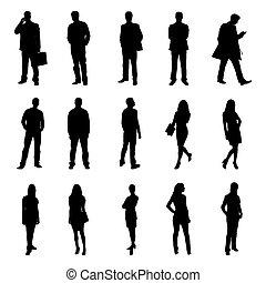 národ, stálý, čerň, silhouettes