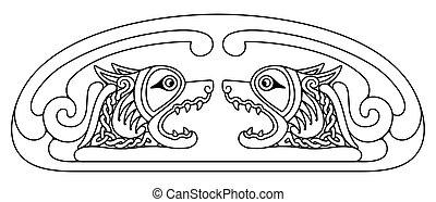 národnostní, drawing., keltský