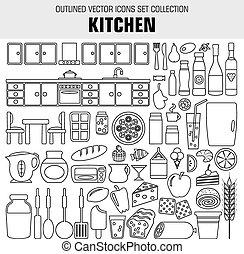 nárys, dát, vaření, a, strava, icons., vektor