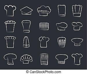 nárys, skica, vrchní kuchař, klobouky, dát, o, neposkvrněný, vrchní kuchař povolání