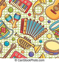 nástroj, móda, karikatura, pattern., hudební, seamless