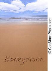 nászút, képben látható, a, tengerpart.