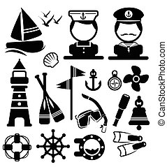 náutico, ícones, jogo, vetorial