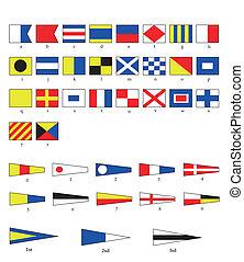 náutico, bandeiras