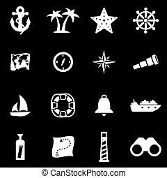 náutico, blanco,  vector, Conjunto, icono