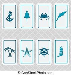 náutico, convite, cartão, jogo