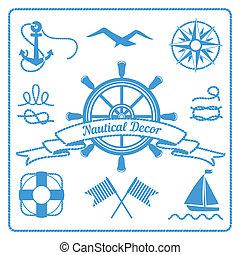 náutico, emblemas, e, decoração