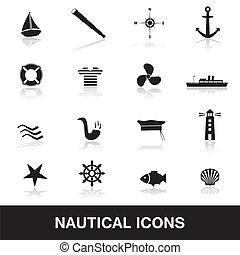 náutico, eps10, iconos