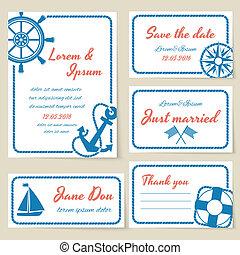 náutico, estilo, convite casamento, e, cartões