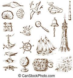 náutico, mar, projete elementos, -, para, scrapbook, e, desenho, em, vetorial