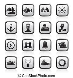 náutico, marina, mar, iconos