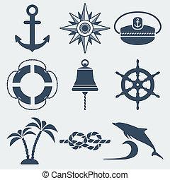 náutico, marinho, ícones, jogo