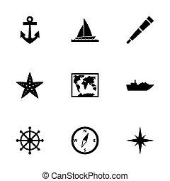 náutico,  vector, Conjunto, icono