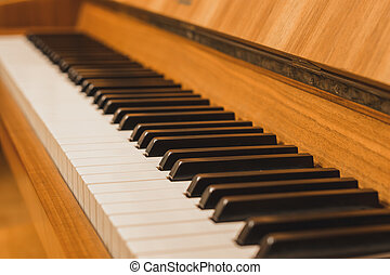 názor, uzavřít, klˇźe, -, up, klavír
