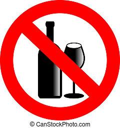 não, álcool, vetorial, sinal