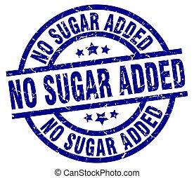 não, açúcar, adicionado, azul, redondo, grunge, selo